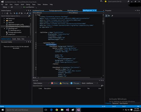 html design view blend in visual studio 2015 no design view stack overflow