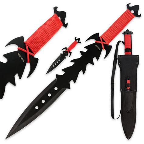 sword throwing black legion crimson sword and throwing knife set true