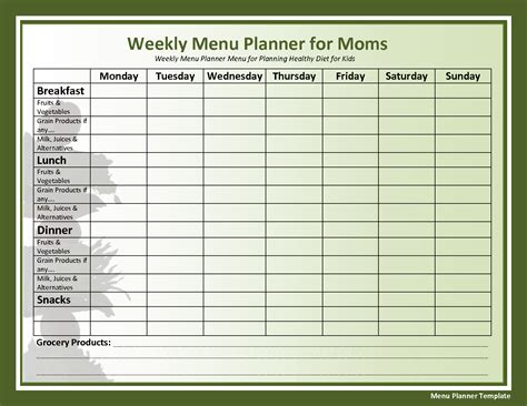 template for weekly menu weekly menu template affordablecarecat