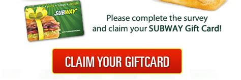 Subway E Gift Card - claim free subway gift card free gift cards pinterest