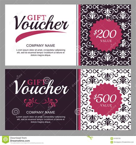 gift card flyer template vector gift voucher with black and white ornament
