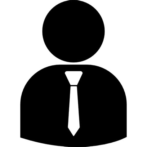 White Table Top Business Person Silhouette Wearing Tie Icons Free Download