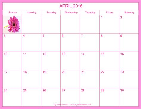 Calendar 2016 April April 2017 Calendar My Calendar Land