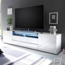 White Tv Cabinets by Genie Wide Tv Stand In High Gloss White With Led Lighting