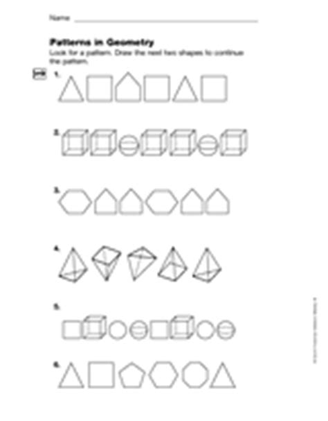 geometric pattern worksheets geometry patterns in geometry gr 4 printable 4th