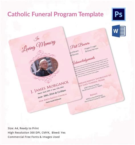 catholic funeral mass program template sle catholic funeral program 12 documents in pdf