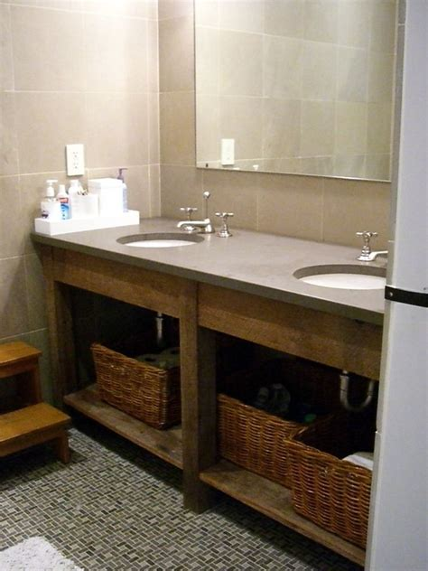 Hand crafted custom bathroom vanities all using recliamed lumber by taghkanic woodworking llc
