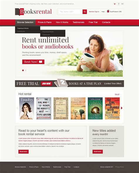 Book Store Website Template 36619 Bookstore Website Template