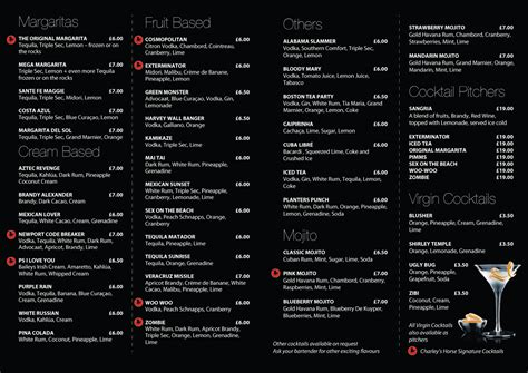 cocktail menu the bar s mexican restaurant