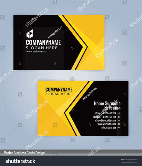 modern business card templates vector yellow black modern business card template stock vector