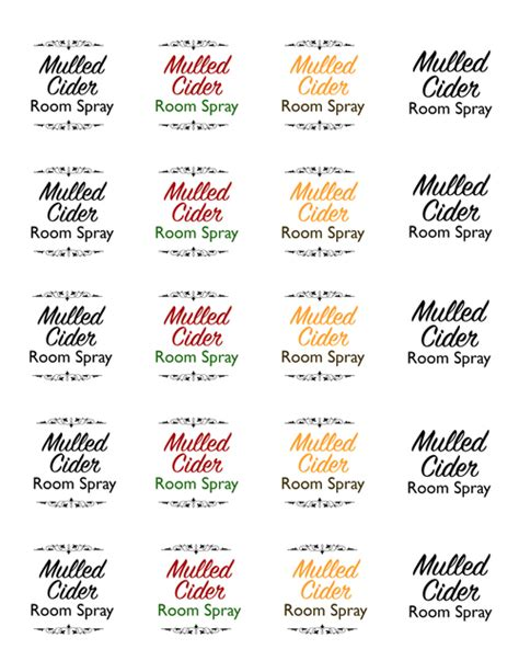 Mulled Cider Essential Oil Holiday Room Spray Template Essential Bottle Label Template