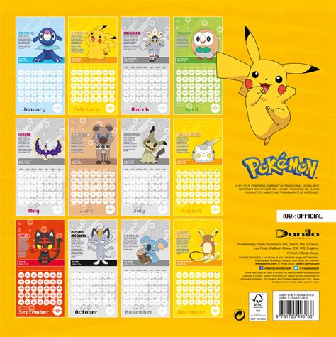 libro pokemon official 2018 calendar pokemon calendars 2018 on europosters