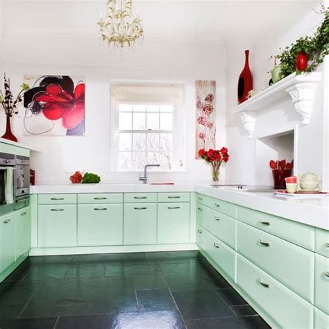 step inside this minty fresh country kitchen housetohome