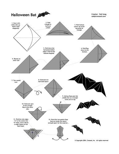 Easy Bat Origami - recortando ideias diagramas de origamis 2