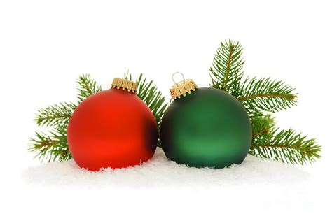 red and green christmas baubles photograph by elena elisseeva