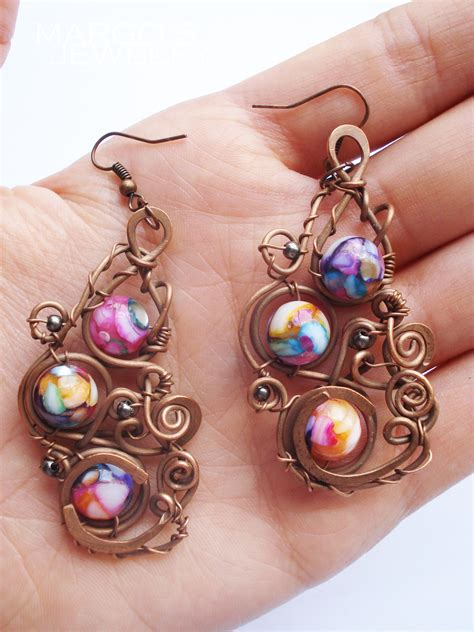Handcrafted Earrings - handmade earrings wire jewelry beautify themselves with