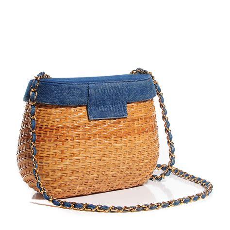 Chanel Shoulder Pouch Bag by Chanel Vintage Denim Straw Basket Shoulder Bag 104741