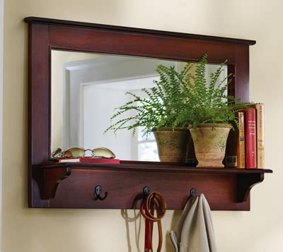 entryway mirror with shelf and hooks