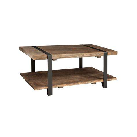 Rustic Coffee Table With Storage Alaterre Furniture Modesto Rustic Storage Coffee Table Amsa1120 The Home Depot
