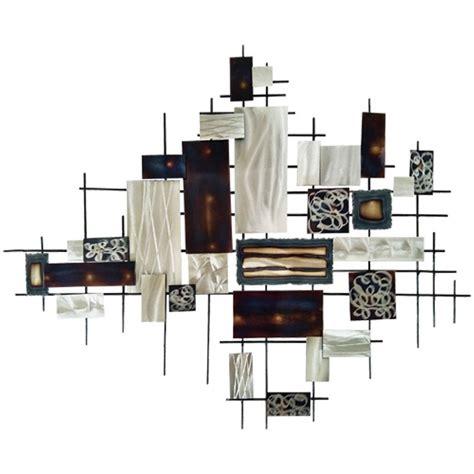 Decoration Murale En Metal 1247 d 233 coration murale m 233 tal carr 233 et rectangles alu et brun fum 233