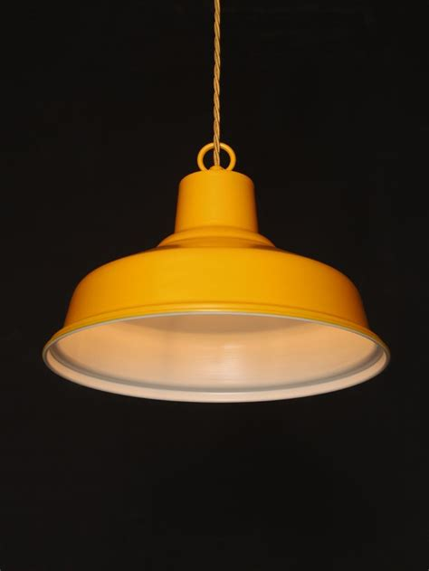 Yellow Glass Ceiling Light Ceiling Pendant Light With A Yellow Spray Outer And White Inner Suspended With Yellow Flex