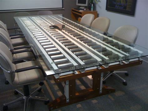 Diy Conference Table Nautilus Conference Table Steel Conveyor Pins Pallet Racking Beams Walnut Glass Office