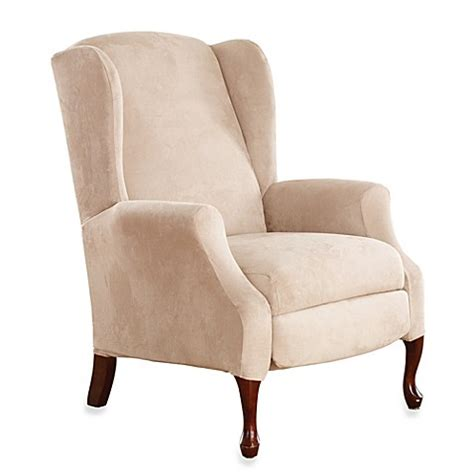 stretch wingback sofa slipcover buy sure fit 174 stretch suede wing recliner cover in taupe
