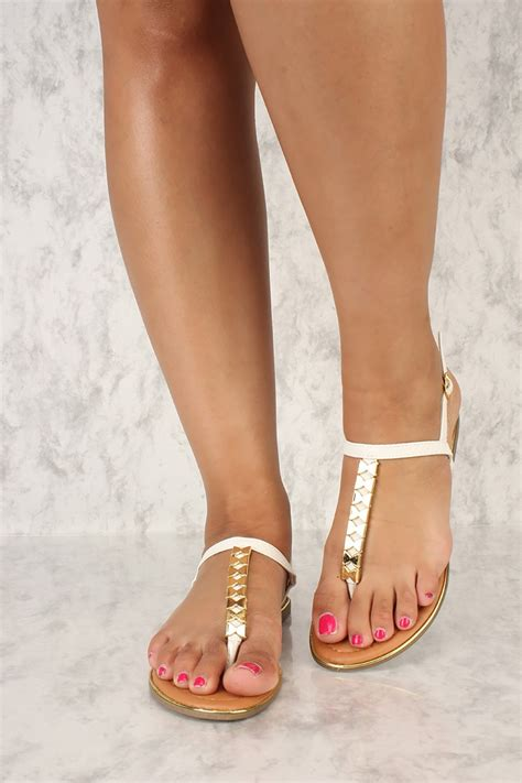 Sexy White High Polish T Strap Thong Sandals Faux Leather