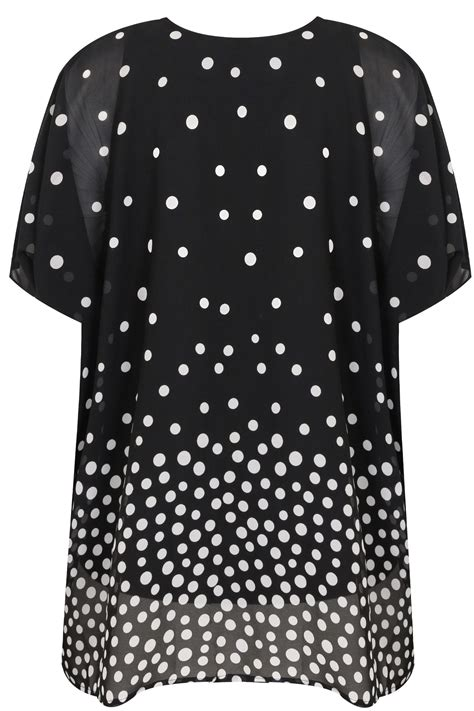 Code Dot Top Black Import black white polka dot chiffon cape top with free necklace plus size 16 to 36