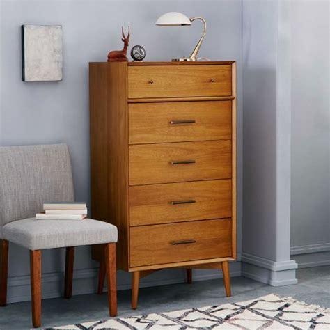 mid century 5 drawer dresser narrow west elm