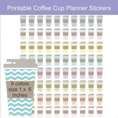coffee planner stickers printable printable planner stickers chevron coffee cup by isidesigns
