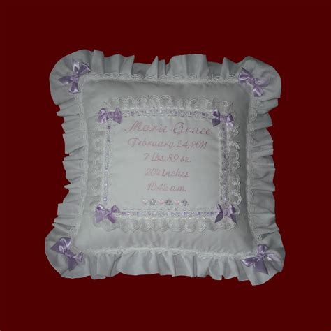 Customized Baby Pillows by Personalized Keepsake Baby Eyelet Pillow Baby Gift Items Smocked Treasures