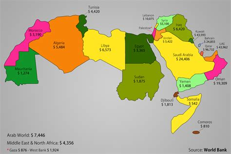 map of arab countries the arab world per capita map the pile