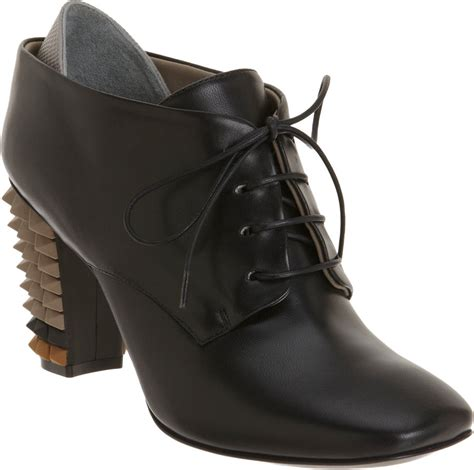 fendi spiked heel oxford ankle boot in black lyst