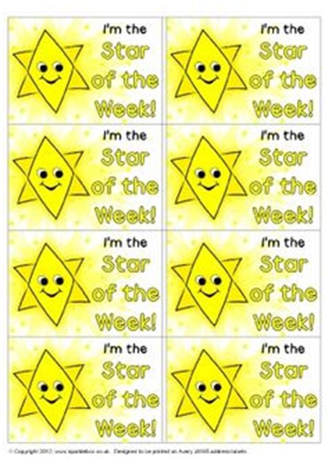 printable star of the week star of the week stickers sb7504 sparklebox stickers