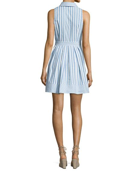Striped Sleeveless Shirtdress milly breton sleeveless striped shirtdress blue