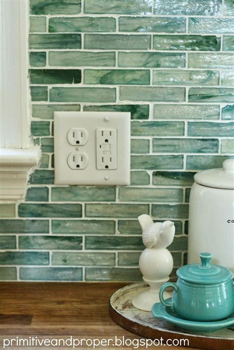 primitive proper diy recycled glass backsplash with the tile shop color love tiffany blue