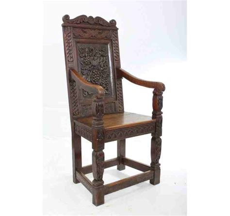 Wainscot Chair by Carved Oak Wainscot Chair