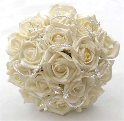 Ivory Foam Roses with Pearls and Beads Bridesmaids Bouquet
