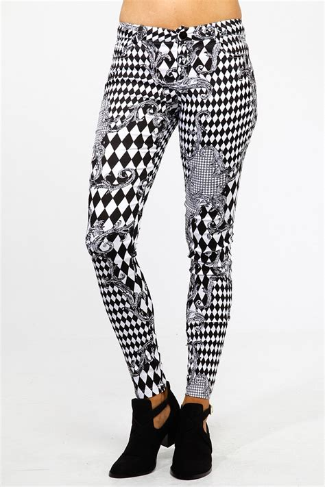 pants checkered jeans checkered pants black and white checkered filigree skinny pants cicihot pants online
