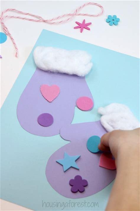 easy winter crafts winter mitten craft for preschoolers housing a forest