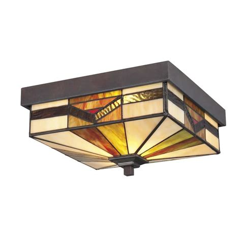 stained glass flush mount ceiling light shop allen roth vistora 11 in w bronze outdoor flush