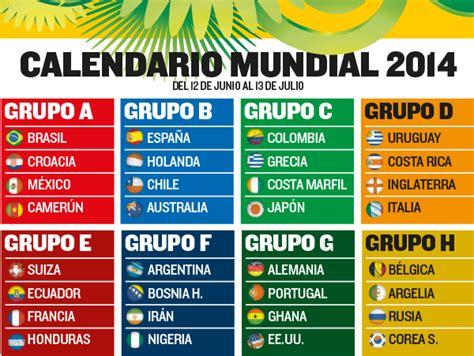 Calendario Mundial Calendario Mundial Brasil 2014