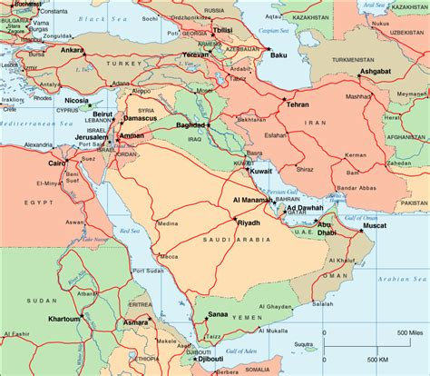 middle east map of cities middle east political map