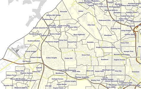 map of atlanta ga suburbs neighborhoods in atlanta