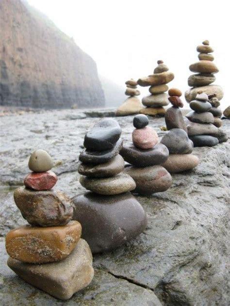 stone cairns as a centerpiece yard lawn garden