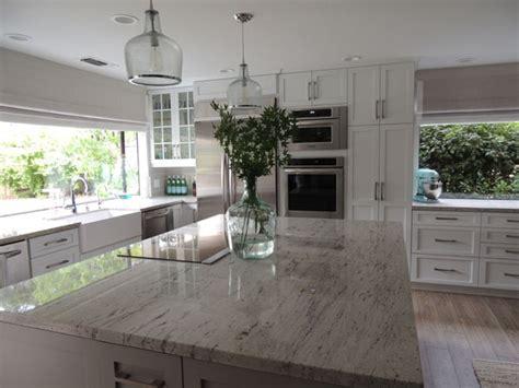 Ballard Designs Kitchen Rugs river white granite countertops transitional kitchen