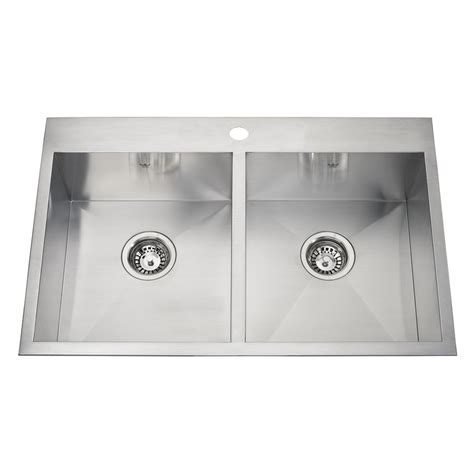 drop in stainless steel kitchen sinks kindred qdlf2031 8 1 20 gauge drop in or undermount
