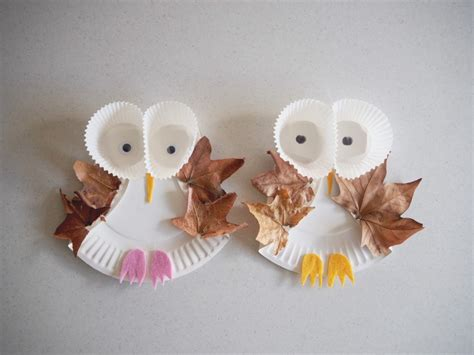 owl crafts paper plate leafy owl craft be a