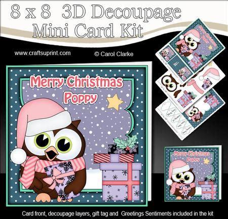 3d Decoupage Picture Kits - 8x8 poppy hoot owl 3d decoupage